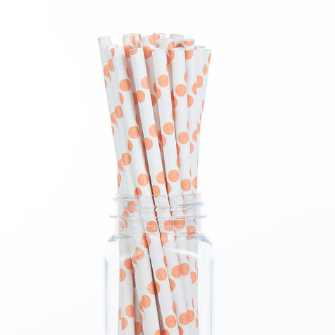 Paper Straws : Peach Orange Polka Dots
