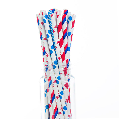Paper Straws : Red & Blue Patriotic Mix