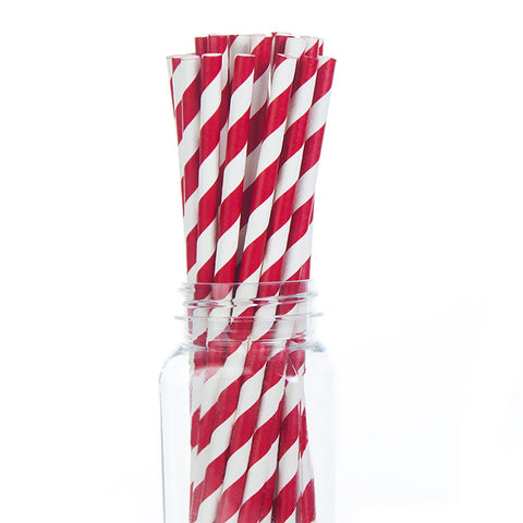 Paper Straws : Apple Red Stripes