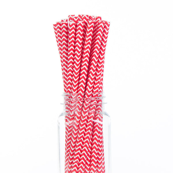 Paper Straws : Red Chevron