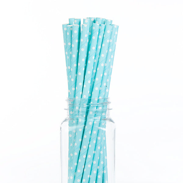 Paper Straws : Swiss White Dots on Blue
