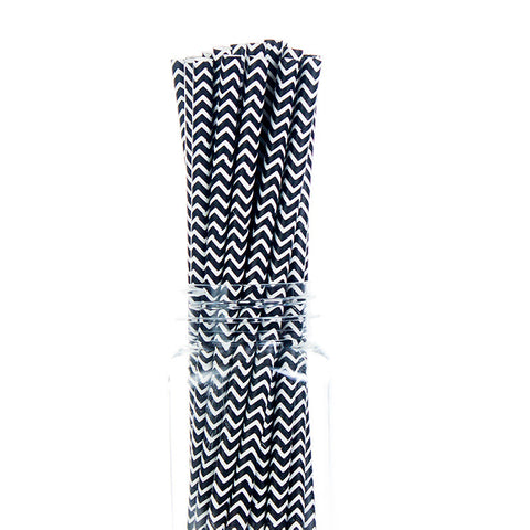 Paper Straws : Black Chevron