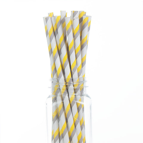 Paper Straws : Double Stripes Yellow & Gray