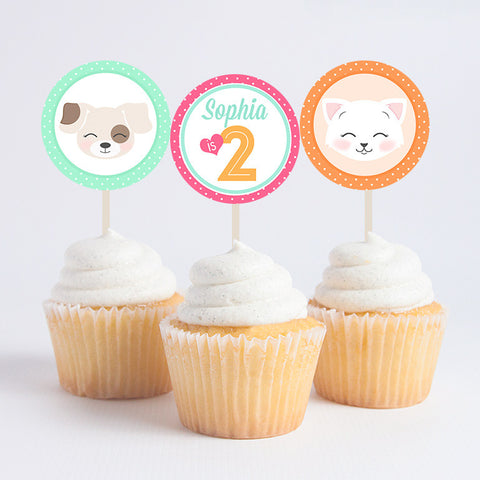 Custom Kitten & Puppy Cupcake Toppers