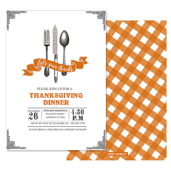 Vintage Cutlery Thanksgiving Invitation