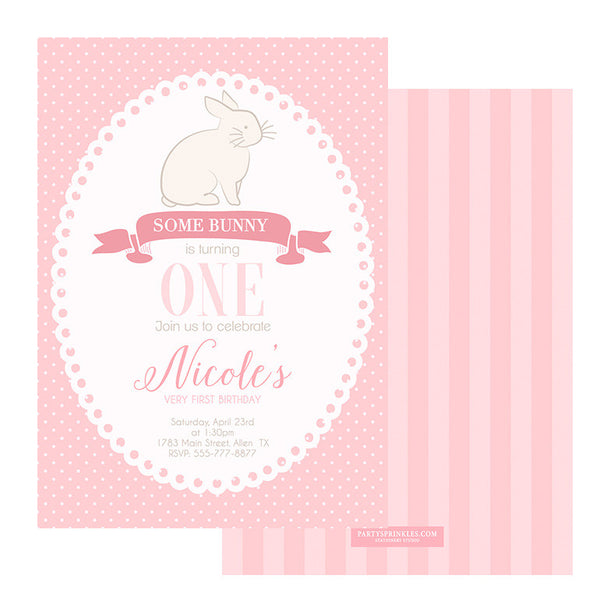 Pink Bunny Invitation