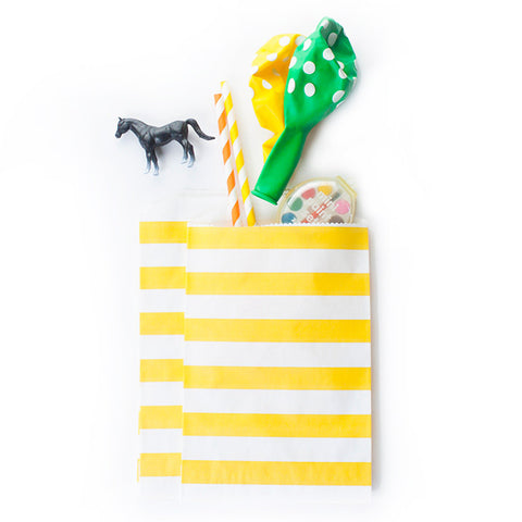 Treat Bags - Yellow Rugby Stripes