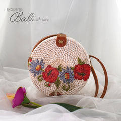 Trendy Rattan Bag with Printed Motif