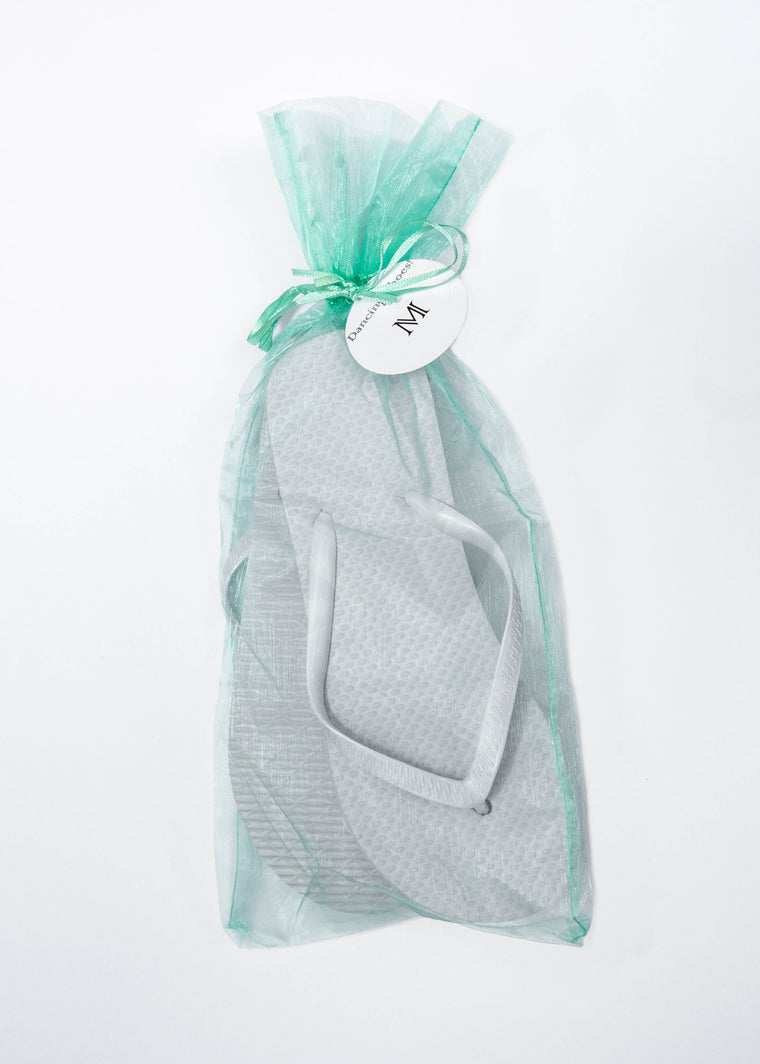 Classic White Flip Flop with Mint Organza Bags