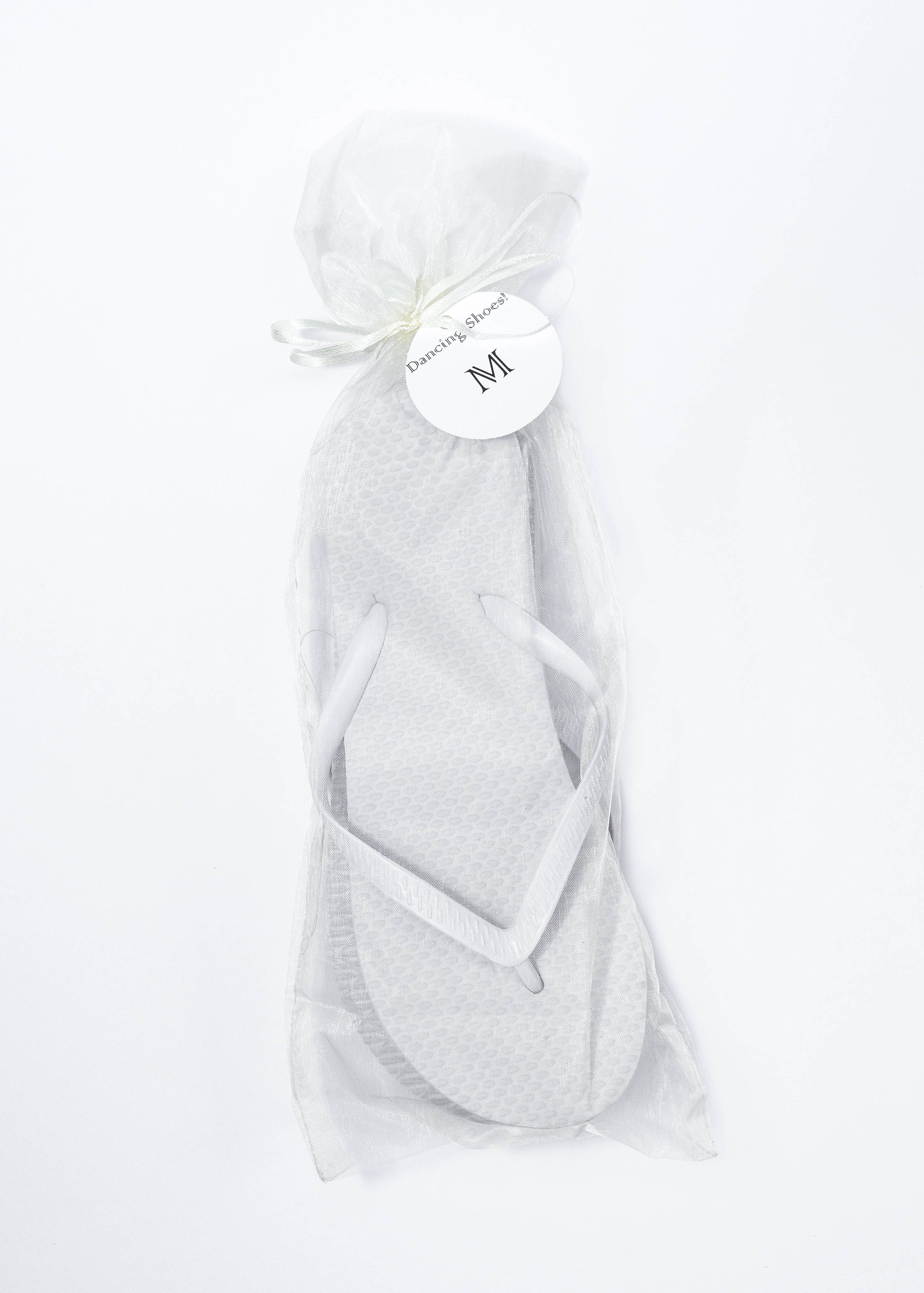 53ecddb46 Classic White Flip Flop with Ivory Organza Bags - My Party Saver. Your  Guest s Best Friend.™