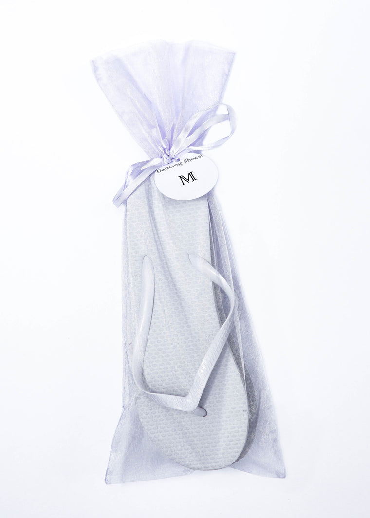 Classic White Flip Flop with Lavender Organza Bags