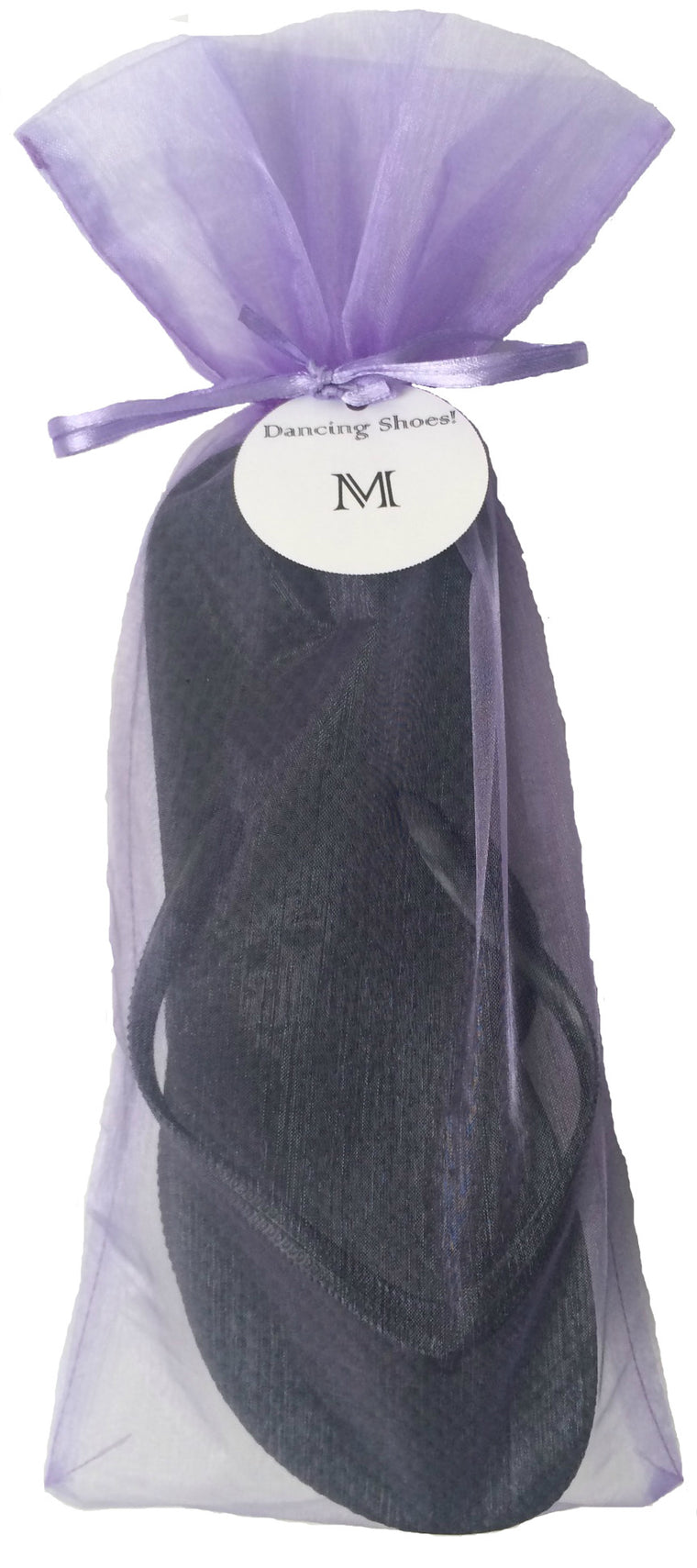 Classic Black Flip Flop with Lavender Organza Bag - My Party Saver. Your Guest's Best Friend.™