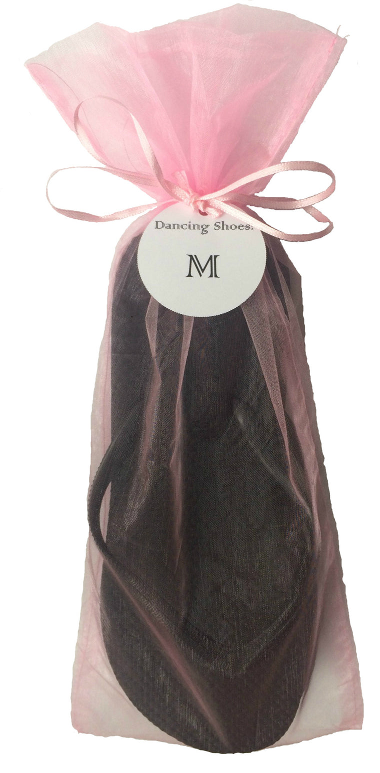 Classic Black Flip Flop with Pink Organza Bags - My Party Saver. Your Guest's Best Friend.™