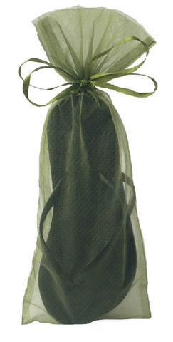 Classic Black Flip Flop with Moss Green Organza Bag - My Party Saver. Your Guest's Best Friend.™