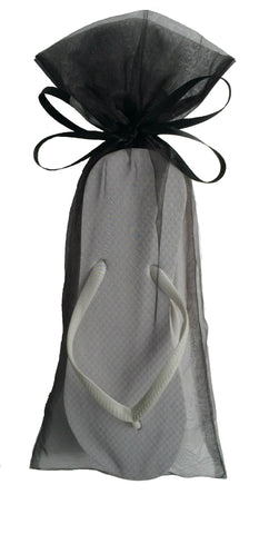 wedding guests bulk white flip flop Black Organza