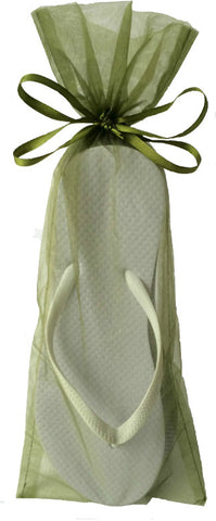 Classic White Flip Flop with Moss Green Organza Bags - My Party Saver. Your Guest's Best Friend.™