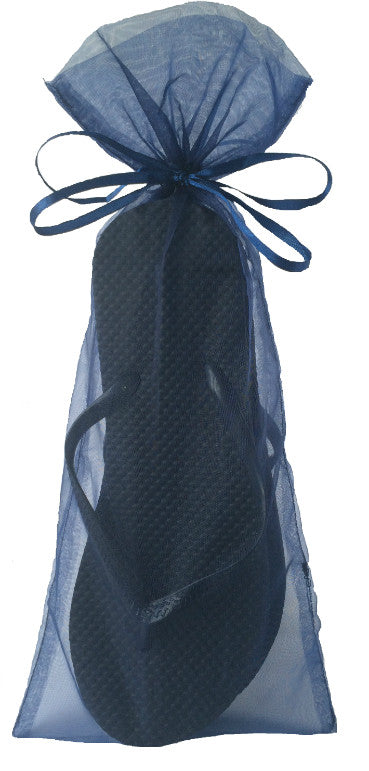 Classic Black Flip Flop with Smoke Blue Organza Bags - My Party Saver. Your Guest's Best Friend.™
