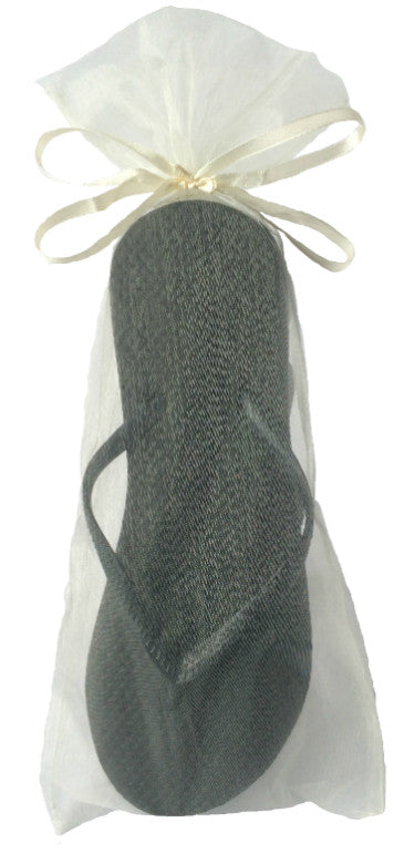 Classic Black Flip Flop with Ivory Organza Bag - My Party Saver. Your Guest's Best Friend.™