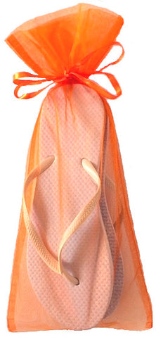 Classic White Flip Flop with Orange Organza Bag - My Party Saver. Your Guest's Best Friend.™