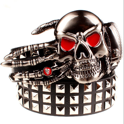 Hand of Death PU Studded Leather Belts