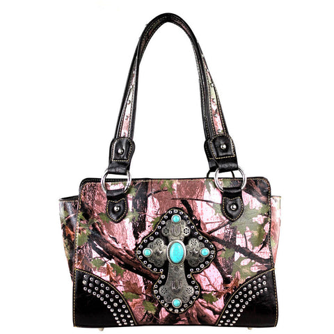 Camo and Pink Cross Embossed Handbag