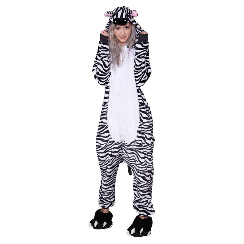 Zebra Onesie - Adult Soft Plush Pajama