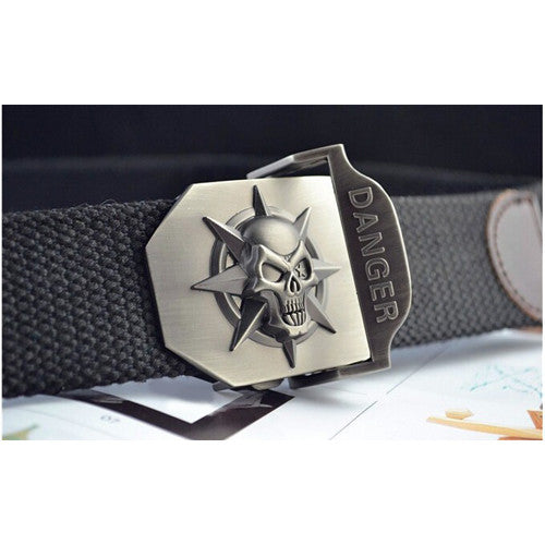 Canvas Belt with Skull Buckle