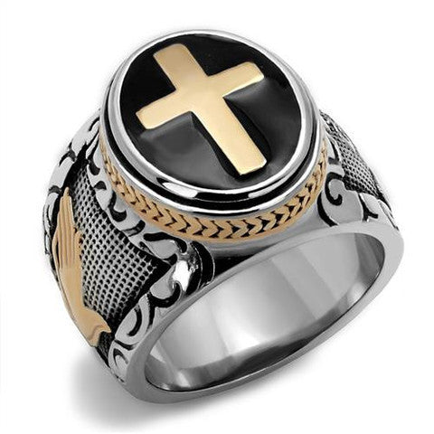 Praying Hands IP Two-toned Gold Cross Ring