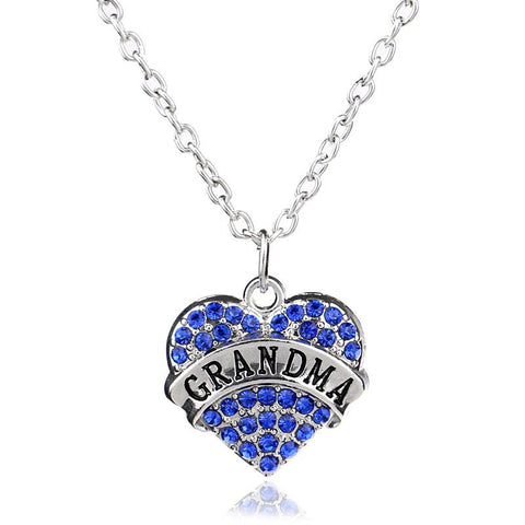 Beautiful Grandma/Nana Heart Rhinestone Necklace