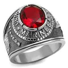 Men's U.S. Marines Red Siam Faceted Crystal Ring - Silver and Gold