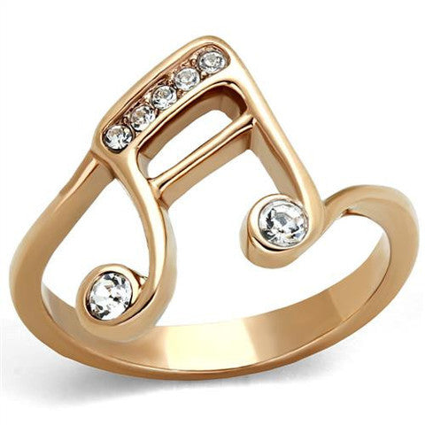 Ion Plated Stainless Steel Music Note Ring