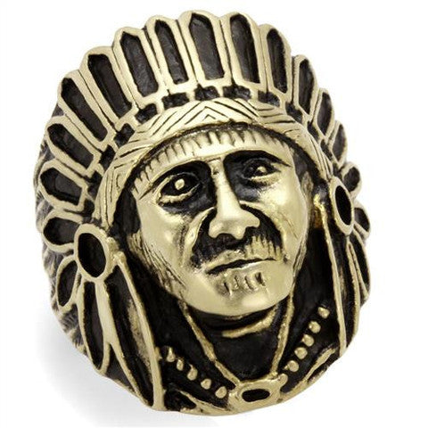 IP Antique Copper Chief Native American Ring