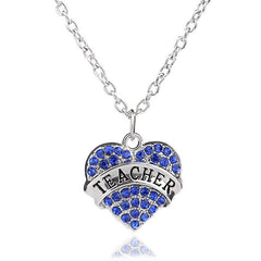 Beautiful Teacher Heart Rhinestone Necklace