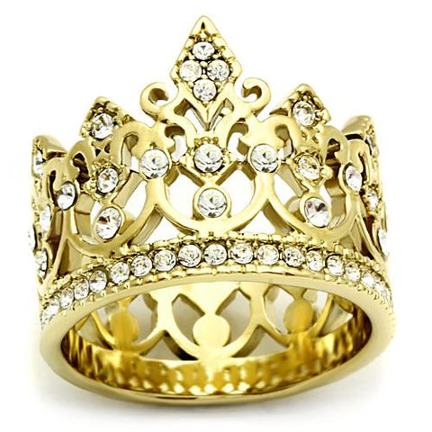 Ion Plated Gold Crown and Crystal Ring