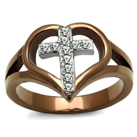 Two Toned Cross Heart Ring
