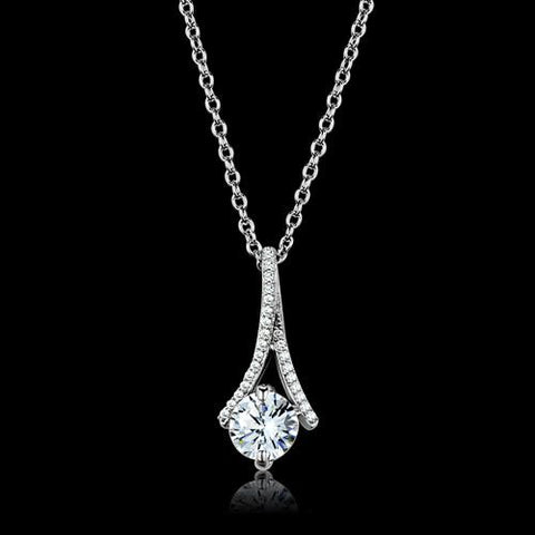 Women's 925 Sterling Silver AAA Grade CZ Chain and Pendant