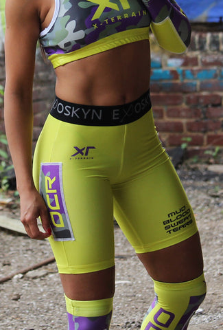 WOMEN'S EXOSKYN X-TERRAIN OCR COMPRESSION SHORTS - MUD/BLOOD/SWEAT/TEARS