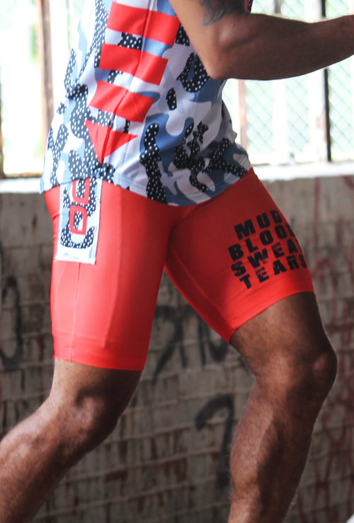MEN'S EXOSKYN X-TERRAIN OCR COMPRESSION SHORTS - CRIMSON/GRIT