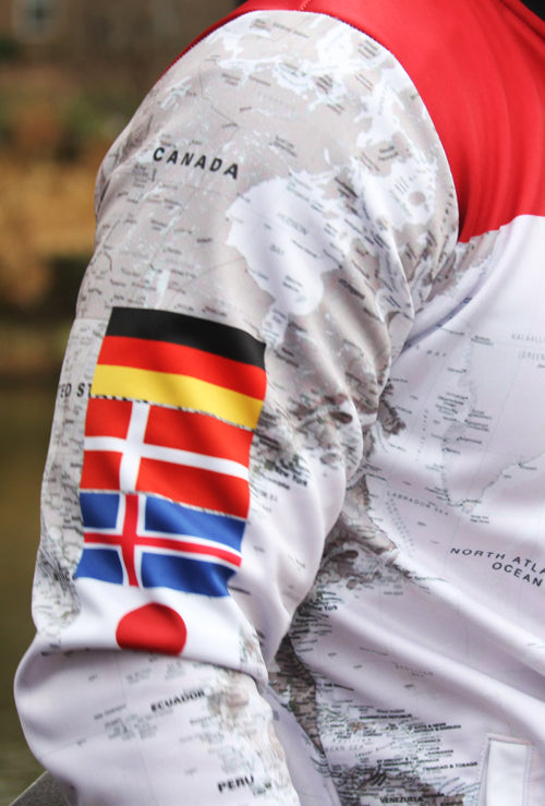PRE-ORDER:  EXOSKYN X-TERRAIN MEN'S OCR WORLD JACKET - CRIMSON/MAP