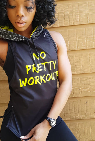 "PRE-ORDER:  EXOSKYN WOMEN'S ""NO PRETTY WORKOUTS"" VELOCITY HOODIE (SLEEVELESS)"