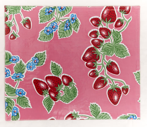 PLACEMAT-Pink Strawberry with Red Checks