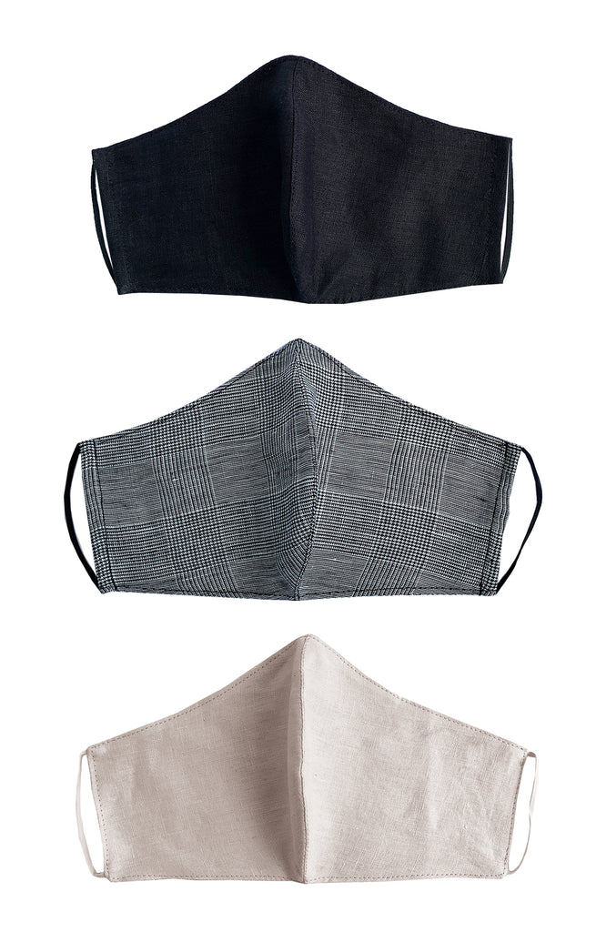 REUSABLE LINEN FACE MASK ASSORTED X 3 PACK