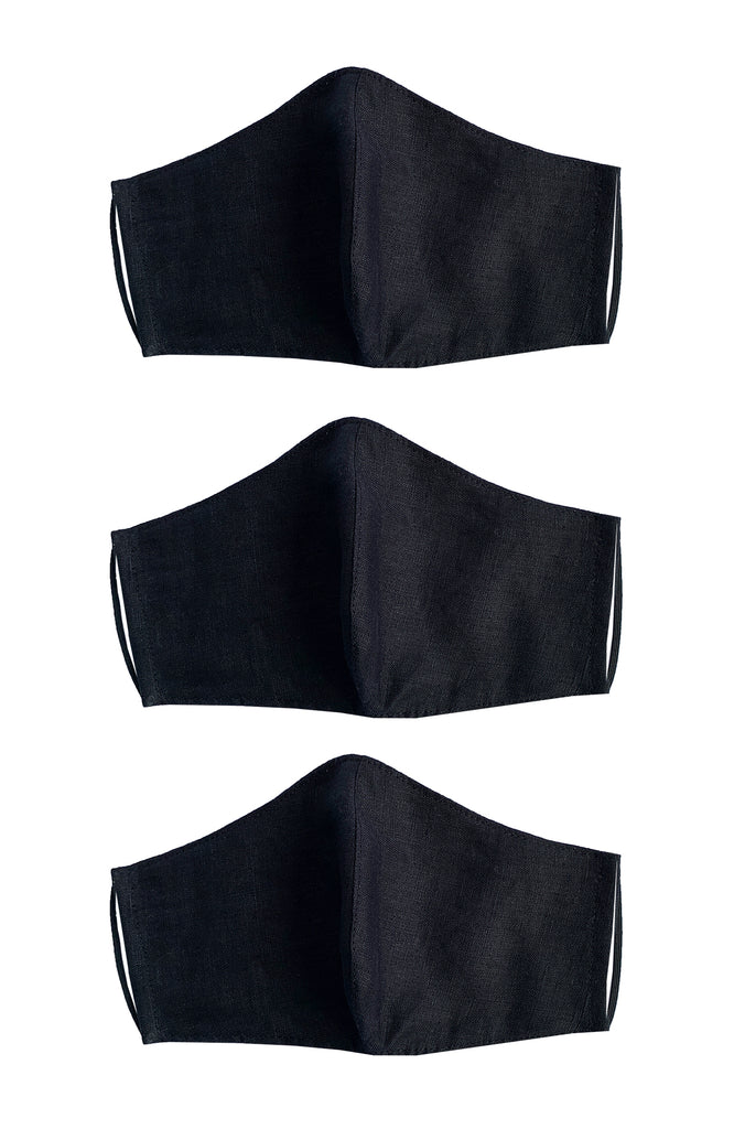REUSABLE LINEN FACE MASK BLACK X 3 PACK