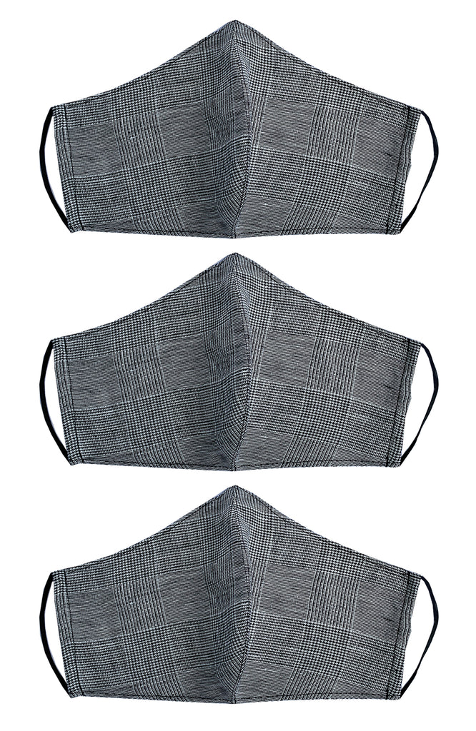 REUSABLE LINEN FACE MASK CHECK X 3 PACK