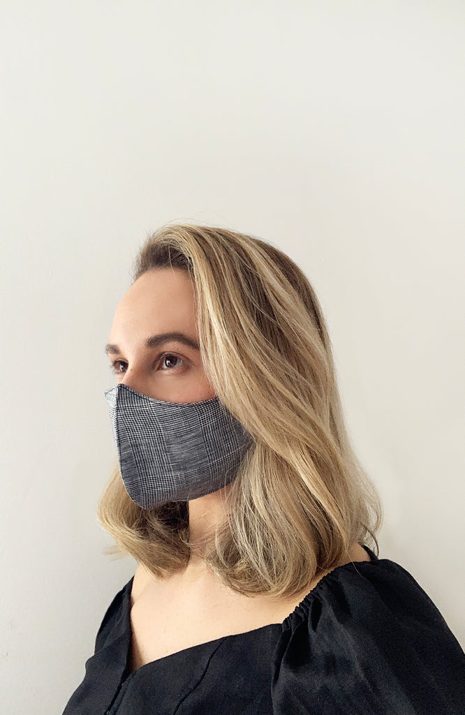 Reusable Linen Face Mask - Check x3 Pack