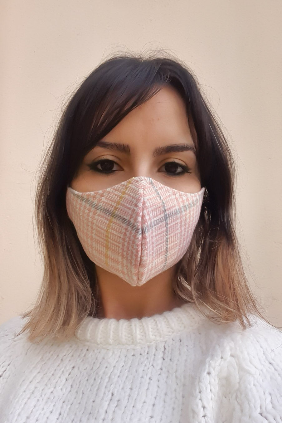 Houndstooth Washable Mask - Pink