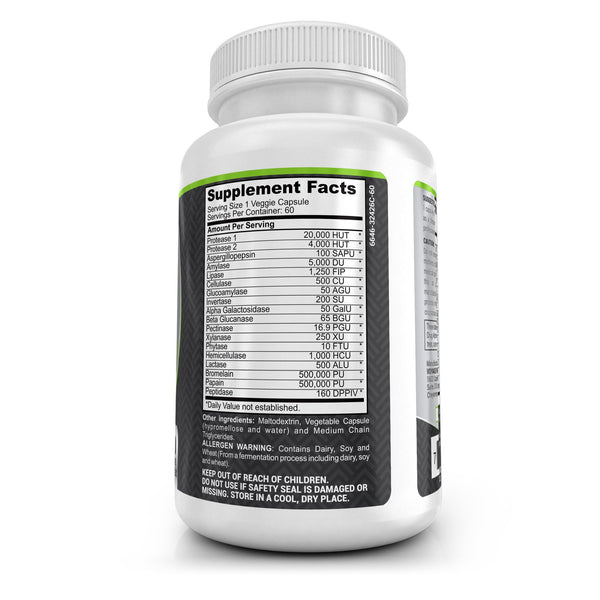 3 Bottles - Digestive Support (Enzymes) - 180 Capsules