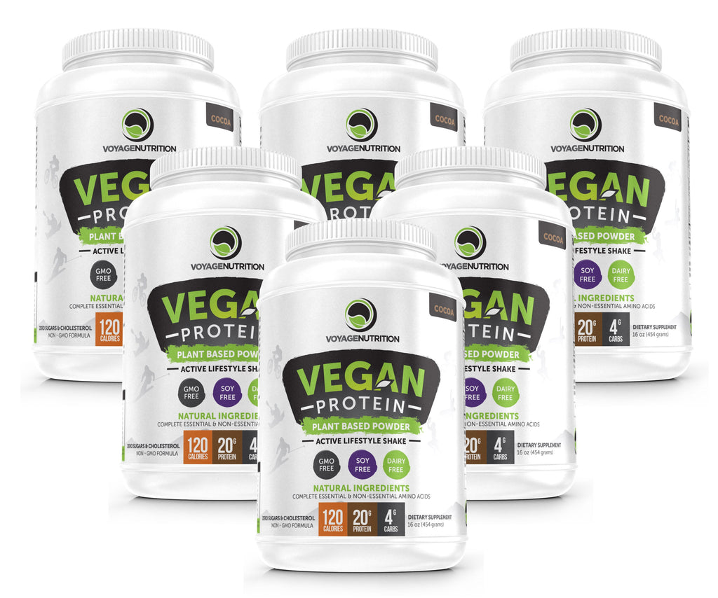 6 Containers of Tasty COCOA Vegan Protein