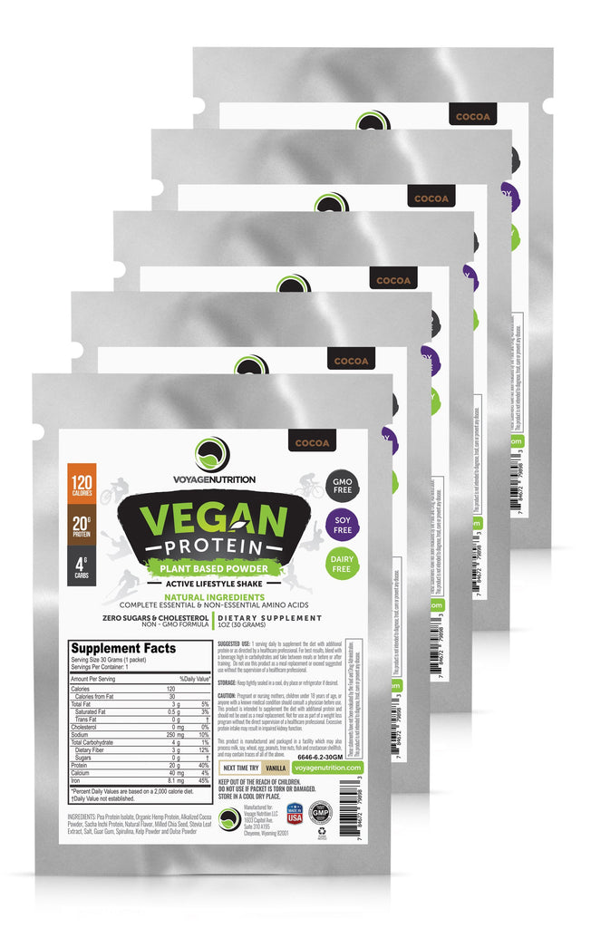 5 Packets of Tasty COCOA Vegan Protein