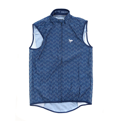 Blue Herringbone Gilet